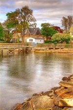 Preview iPhone wallpaper Town, houses, stones, pier, trees, clouds, lake