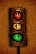 Preview iPhone wallpaper Traffic light, red yellow and green