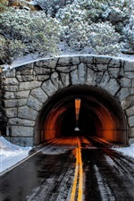 Preview iPhone wallpaper Tunnel, road, mountain, trees, snow, winter