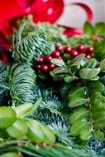 Preview iPhone wallpaper Twigs, berries, leaves, Christmas decoration