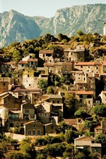 Preview iPhone wallpaper Village, houses, upland, trees, mountains, France
