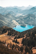 Preview iPhone wallpaper Walchensee, mountains, trees, lake, Germany