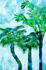 Preview iPhone wallpaper Watercolor painting, palm trees