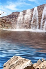 Preview iPhone wallpaper Waterfalls, lake, birds, eagle, stones