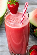 Preview iPhone wallpaper Watermelon juice, slices, strawberry