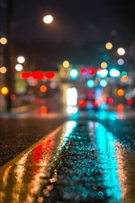 Preview iPhone wallpaper Wet road, city, lights