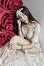 Preview iPhone wallpaper White dress Asian girl, big red rose