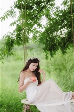 Preview iPhone wallpaper White dress Asian girl, swing, apple, forest