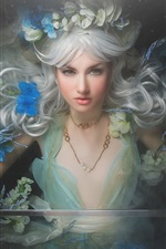 Preview iPhone wallpaper White haired fantasy girl, wreath, sword