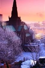 미리보기 iPhone 배경 화면 겨울, 도시, 황혼, 나무, 설, 주택, 조명