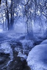 Preview iPhone wallpaper Winter, snow, river, trees, ice, frozen