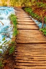 Preview iPhone wallpaper Wood bridge, path, nature, stream