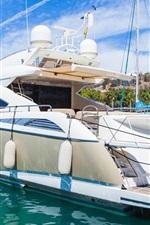 Yacht, ship, sea, dock, summer