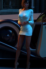 Preview iPhone wallpaper 3D rendering, girl and car at street