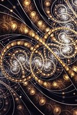 Preview iPhone wallpaper Abstract fractal patterns, gold color light