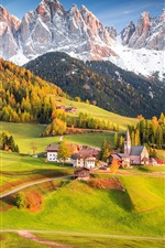Preview iPhone wallpaper Alps, Italy, village, houses, trees, mountains, fields, beautiful landscape
