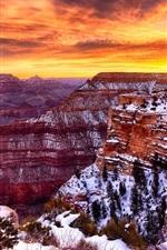 America, Grand Canyon beautiful landscape, winter, snow, sunset