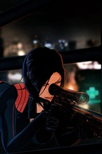 Preview iPhone wallpaper Anime girl, roof, Paris, sniper rifle, night