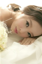 Preview iPhone wallpaper Asian girl, bride, wedding, flowers