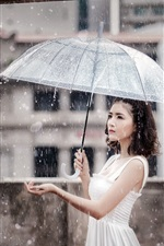 Preview iPhone wallpaper Asian girl, heavy rain, umbrella