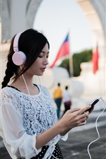 Preview iPhone wallpaper Asian girl listening music, headphones