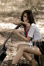 Preview iPhone wallpaper Asian girl, pose, guitar, forest