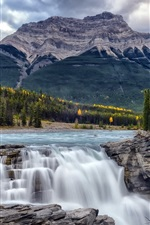 Preview iPhone wallpaper Athabasca Falls, Alberta, Canada, trees, mountains