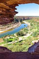 Australien, Nationalpark Kalbarri, Felsen, Fluss, Sträucher