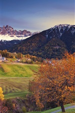 Preview iPhone wallpaper Autumn, trees, mountains, town, Alps, Italy
