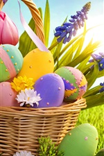 iPhone обои Корзина, цветы, яйца, трава, солнце, пасхальная тема