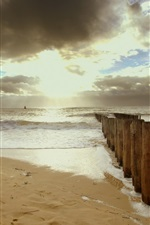 Preview iPhone wallpaper Beach, sands, sea, fence, clouds, sun rays
