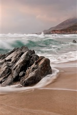 Preview iPhone wallpaper Beach, sea, waves, stones, nature