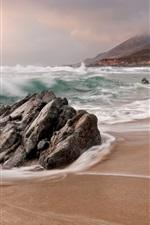 iPhone fondos de pantalla Playa, mar, olas, piedras, naturaleza