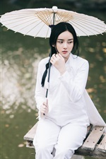 Preview iPhone wallpaper Beautiful Chinese girl, white dress, umbrella, pier, lake