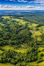 Preview iPhone wallpaper Beautiful landscape, top view, trees, village, greens, Czech Republic