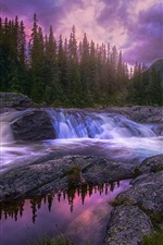 Preview iPhone wallpaper Beautiful nature, forest, trees, mountains, stream, stones, sunset