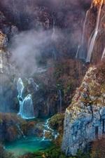 Beautiful nature, waterfalls, mountains, bridge, trees, fog