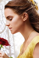 Preview iPhone wallpaper Beauty and the Beast, Emma Watson, rose, Disney movie