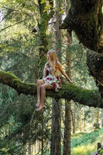 Preview iPhone wallpaper Blonde girl, forest, tree, moss