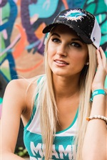 Preview iPhone wallpaper Blonde girl, hat, sport dress