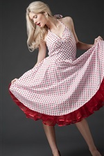 Preview iPhone wallpaper Blonde girl, red spotted skirt