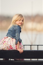 Preview iPhone wallpaper Blonde little girl look back, child, fence