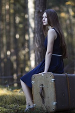 Preview iPhone wallpaper Blue skirt girl, long hair, suitcase, forest