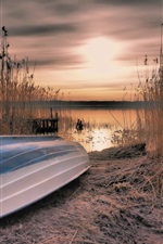 Preview iPhone wallpaper Boat, reeds, lake, sunset