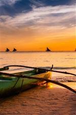 iPhone fondos de pantalla Barco, mar, puesta del sol