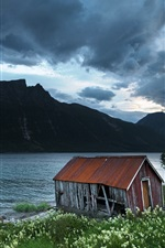 Preview iPhone wallpaper Boathouse, Northern-Norway, mountains, lake, clouds, dusk
