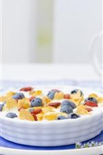 Breakfast, blueberries, berries, milk, cereal, food
