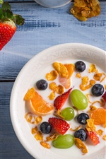 Preview iPhone wallpaper Breakfast, fruit salad, strawberry, blueberry