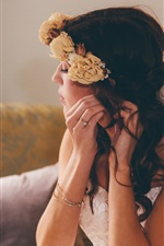 Preview iPhone wallpaper Bride, girl, wreath, flowers, makeup