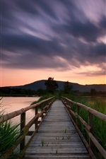 Preview iPhone wallpaper Bridge, lake, grass, sunset